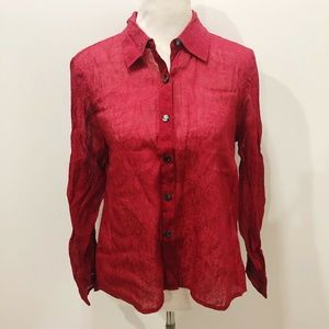 J JILL S Red Shirt Shimmer Long Sleeve Solid